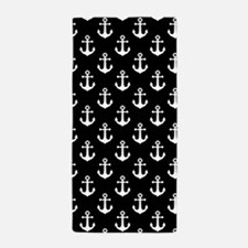 White Anchors Black Background Pattern Beach Towel