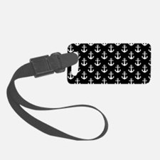 White Anchors Black Background P Luggage Tag