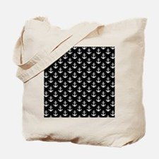 White Anchors Black Background Pattern Tote Bag