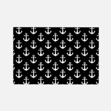 White Anchors Black Background Pa Rectangle Magnet