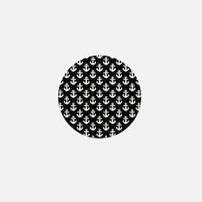 White Anchors Black Background Pattern Mini Button