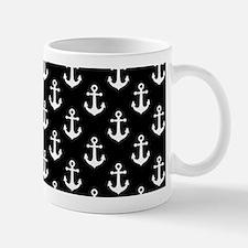 White Anchors Black Background Pattern Mug