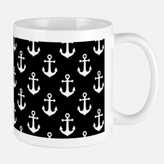 White Anchors Black Background Pattern Mug