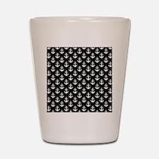 White Anchors Black Background Pattern Shot Glass