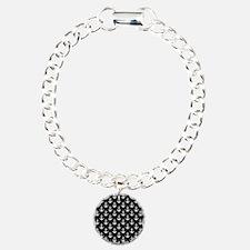 White Anchors Black Back Bracelet