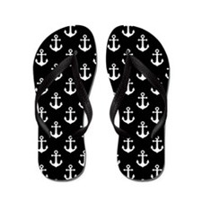 White Anchors Black Background Pattern Flip Flops