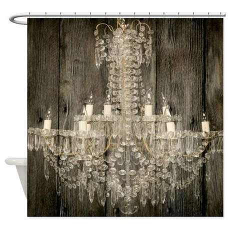 CafePress shabby chic rustic chandelier Shower Curtain