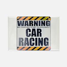 Warning: Car Racing Rectangle Magnet