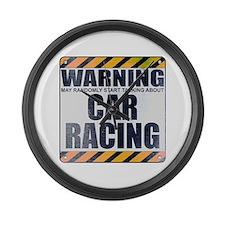 Warning: Car Racing Large Wall Clock