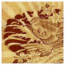 retro japanese tattoo koi fish  Poster