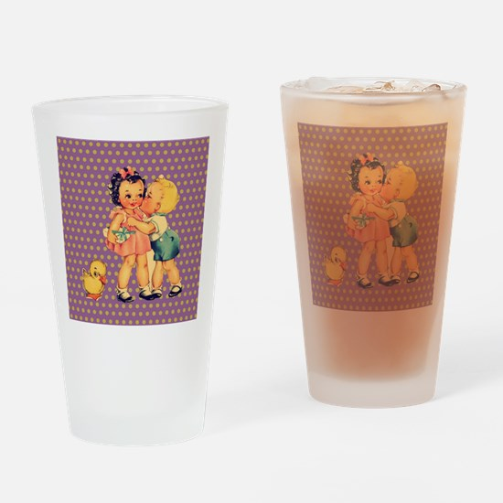 purple polka dots retro kids Drinking Glass