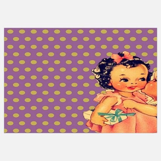 purple polka dots retro kids