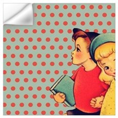 vintage polka dots retro kids Wall Decal