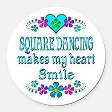 Square Dancing Smiles Round Car Magnet