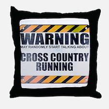 Warning: Cross Country Running Throw Pillow