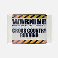 Warning: Cross Country Running Rectangle Magnet