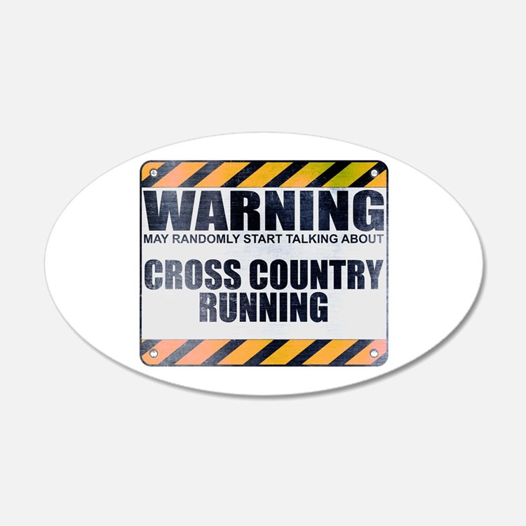 Warning: Cross Country Running 22x14 Oval Wall Pee