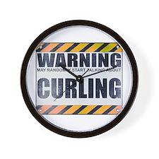 Warning: Curling Wall Clock