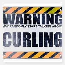 "Warning: Curling Square Car Magnet 3"" x 3"""
