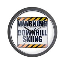 Warning: Downhill Skiing Wall Clock