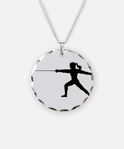 Girl Fencer Lunging Necklace
