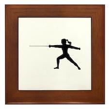 Girl Fencer Lunging Framed Tile