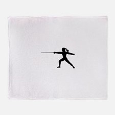 Girl Fencer Lunging Throw Blanket