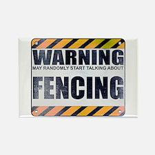 Warning: Fencing Rectangle Magnet
