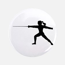Girl Fencer Lunging Button