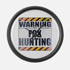 Warning: Fox Hunting Large Wall Clock