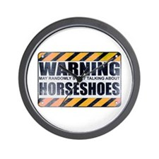 Warning: Horseshoes Wall Clock