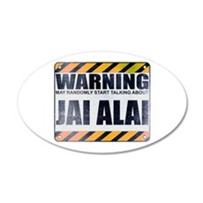 Warning: Jai Alai 22x14 Oval Wall Peel