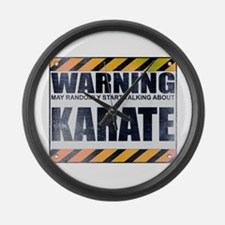 Warning: Karate Large Wall Clock
