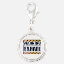 Warning: Karate Silver Round Charm