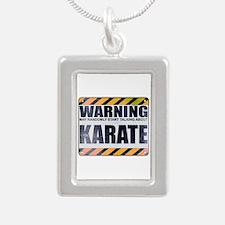 Warning: Karate Silver Portrait Necklace