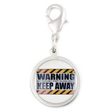 Warning: Keep Away Silver Round Charm