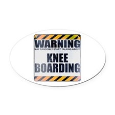 Warning: Knee Boarding Oval Car Magnet