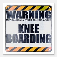 "Warning: Knee Boarding Square Car Magnet 3"" x 3"""