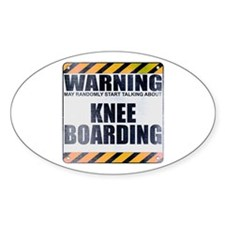 Warning: Knee Boarding Oval Decal