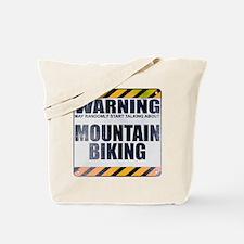 Warning: Mountain Biking Tote Bag