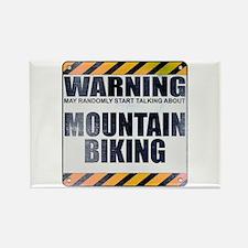Warning: Mountain Biking Rectangle Magnet (10 pack