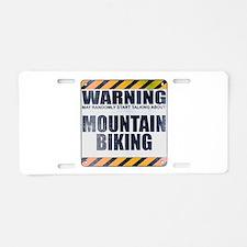 Warning: Mountain Biking Aluminum License Plate