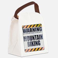 Warning: Mountain Biking Canvas Lunch Bag