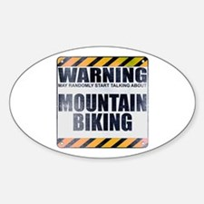Warning: Mountain Biking Oval Decal