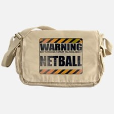 Warning: Netball Canvas Messenger Bag