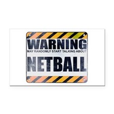 Warning: Netball Rectangle Car Magnet