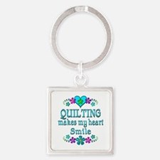 Quilting Smiles Square Keychain