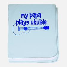papa plays ukulele baby blanket