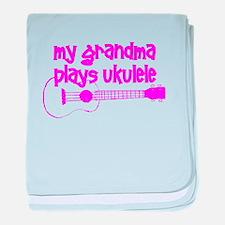 Grandma plays ukulele baby blanket