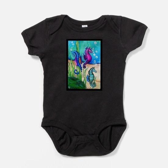 Three Water Horses Baby Bodysuit